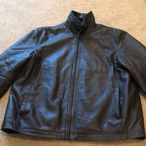Dark brown men's leather jacket